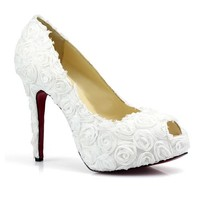 White Satin Rosette High Heel Platform Peep Toe Wedding Bridal Shoes SKU-1090835