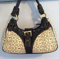 Dooney & Bourke Stars and Hearts Hobo Shoulder Bag Black & Cream w/ Dust Bag