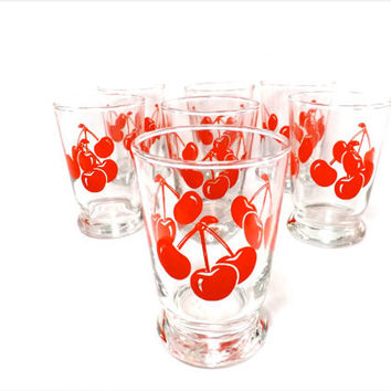 Cherry Drinking Glasses Vintage Cherries Anchor Hocking Cherry Glasses 50s Rockabilly