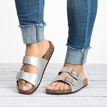 Double Buckle Silver Sandals
