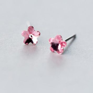 6mm 100% Real. 925 Sterling Silver jewelry Rose Quartz /Pink Crystals Flower stud Earrings