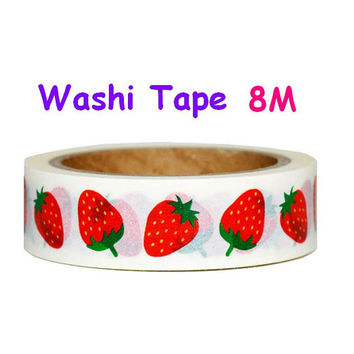 Strawberry Washi tape berry tape fruit washi tape yummy food icon fresh Red fruit strawberry party deco sticker berry gift tag label sticker