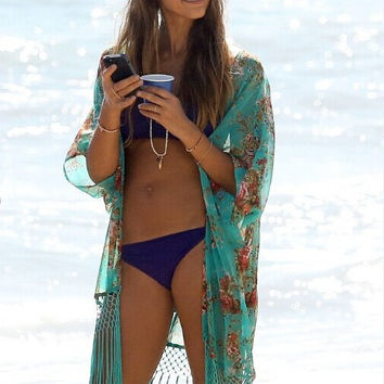 Chiffon Blouse beach fringed coat sunscreen clothing Bathing Suit Cover Ups Kaftan green Convertible Dress dress blue