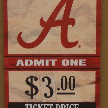 "ALABAMA CRIMSON TIDE GAME TICKET ADMIT ONE WOOD SIGN 6""X12'' NEW WINCRAFT"