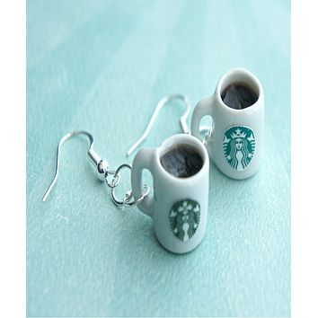 Starbucks Black Coffee Dangle Earrings