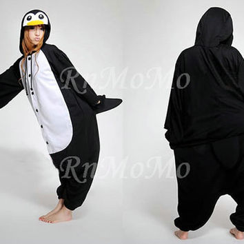 KIGURUMI Cosplay Romper Charactor animal Hooded Night clothes Pajamas Pyjamas Costume sloth  outfit Sleepwear-Emperor Penguin