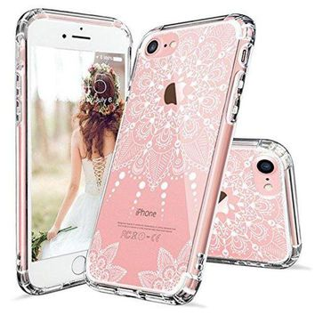 VONW3Q iPhone 7 Case, iPhone 7 Clear Case, MOSNOVO White Henna Mandala Floral Lace Clear Design Printed Transparent Hard Case with TPU Bumper Protective Back Case Cover for iPhone 7 (2016)