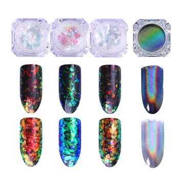 Born Pretty Nail Art Chameleon Cloud Paillette Iridescent Flakies Powder Irregular Nail Sequins Flakes with Holographic Laser Rainbow Powder Chrome Pigment Manicure