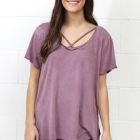 Cross It Mineral Wash Strappy Tee {Berry} EXTENDED SIZES