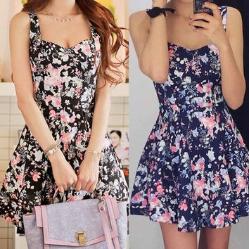 Women Summer Casual  Evening Floral Short Mini Dress = 1931794052