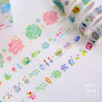 4 pcs/set I love succulent washi tape DIY decorative scrapbook masking tape office adhesive tape stationery school supplies