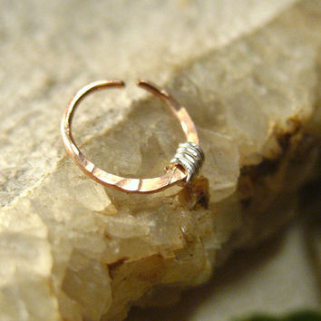 Pink Gold Nose Ring with Silver Hammered & Wrapped