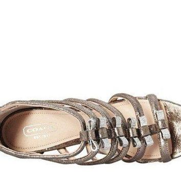 CREY3DS COACH Women's Laila Feathered Grey Metallic Dusted Suede Sandal 9 M