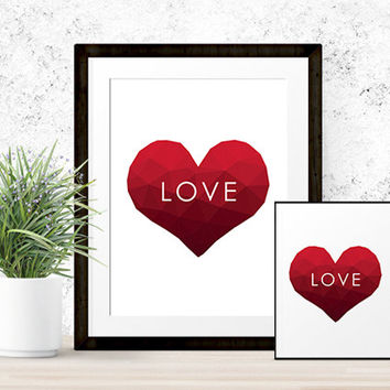 "Polygon Heart ""LOVE"" Print 