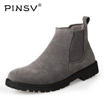 PINSV Chelsea Boots Men Shoes Ankle Military Boots Men Cow Suede Leather Boots For Men Spring Autumn Shoes Bota Masculina