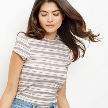 White Stripe Print Cap Sleeve T-Shirt