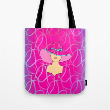 Girl With The Big Hat Tote Bag by Sartoris ART