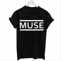 Fashion loose type letters print black T-shirt short sleeve top print MUSE