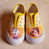 CUSTOM Hand Painted Shoes- Beauty and the Beast