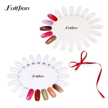 Fulljion False Nails Palette White Transparent Acrylic Fake Nails Tips Polish Color Display Plastic Artificial Board DIY Tools