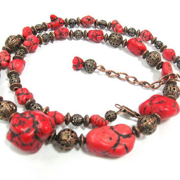 Red Magnesite Necklace, Chunky Magnesite and Copper, OOAK design, Bohemian Jewelry