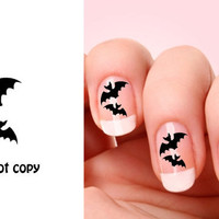 Set of 20 Halloween Bats nail art decals.