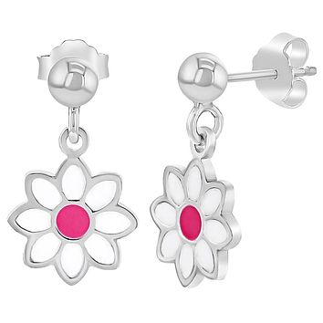 925 Sterling Silver Pink White Enamel Daisy Flower Stud Dangle Earrings Girls