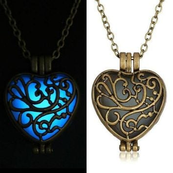 ICIKHY9 Antique  Pendant Necklaces Glow In The Dark suspension Locket copper Hollow Glowing Stone necklace Heart Statement Choker Women