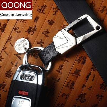 QOONG Custom Lettering Classic Style Career Keychain Men's Car Strap Keyholder Genuine Leather Key Chain Key Ring Metal Keyring