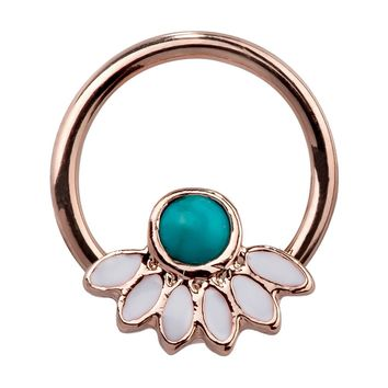 FreshTrends Faux Turquoise Filigree Steel Captive Ring For Cartilage Septum 16G
