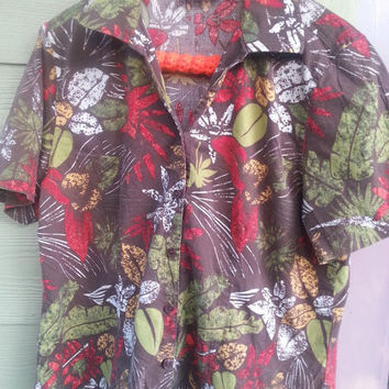 Vintage Brown Tropical Blouse Shirt Top Size S