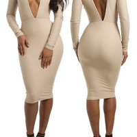 Plunging Neckline Long Sleeve Bodycon Dress