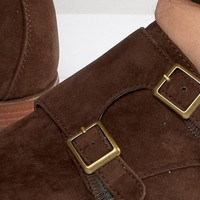ASOS Monk Shoes In Brown Faux Suede at asos.com