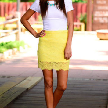 Floral Race Skirt, Yellow
