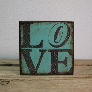 Retro Love Typography Art Block Painted Wall Hanging-Mix And Match Blocks MatchBlox - 1785