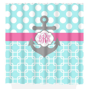 ANCHOR SHOWER CURTAIN Aqua Pink Gray Polka Dot Chain Custom Monogram Personalized Nautical Bathroom Decor Beach Towel Plush Bath Mat