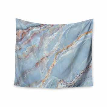 Blue Marble - Blue Gold Geological Photography Wall Tapestry
