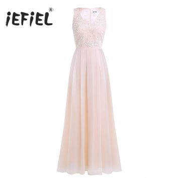 iEFiEL Elegant Women Ladies Embroidered Chiffon Sleeveless Long Dress for Birthday Party Formal Prom Gown Wedding Maxi Dresses