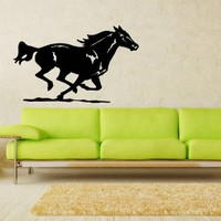 Beautiful Running Horse Gallops Animal Wall Vinyl Decal Art Sticker Home Modern Stylish Design Interior Decor for Any Room Smooth and Flat Surfaces Housewares Murals Window Graphic Bedroom Living Room (3722)