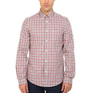 ICIK8UT Ben Sherman Gingham Mens Button-Up Long Sleeve Shirt