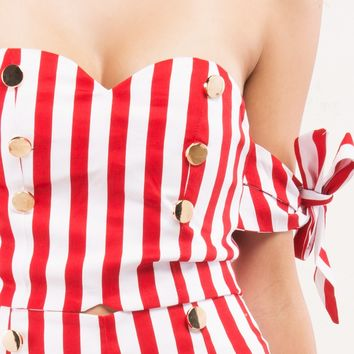 Red and White Stripe Crop Top with Gold Buttons