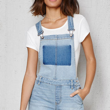 PacSun Ghost Blue Denim Shortalls at PacSun.com