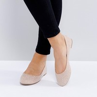New Look Wide Fit Embellished Ballerina at asos.com