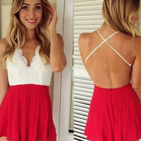 V-Neck Backless Lace Pleated Romper
