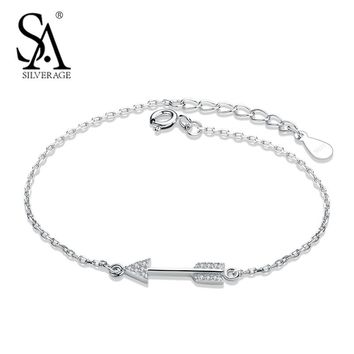 SA SILVERAGE Silver Bracelet for Women 925 Sterling Silver Arrow Charms Bracelets & Bangles Valentine Day Gift Fine Jewelry