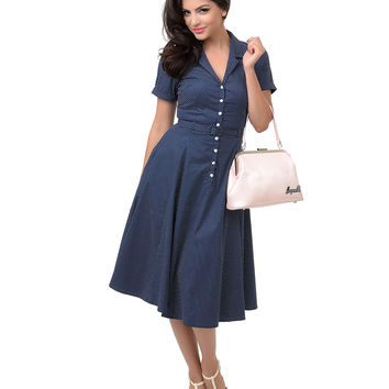 Collectif 1950s Style Navy & White Dot Belted Caterina Shirt Swing Dress