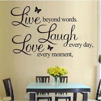 fashion LIVE LAUGH LOVE Wall Quote Stickers 4 Butterflies Vinyl Decal Home Art Wall Stickers