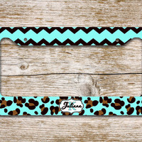 Monogram car tag license plate, frame - Cheetah, chevron print in aqua, black - monogrammed license plate bike accessories bike tag(1291)
