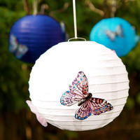 Paper Lantern Wedding White Pomander Decoration Butterfly Country Romantic Bohemian Shabby Chic Spring Bride Fairytale Photo Prop Photograph