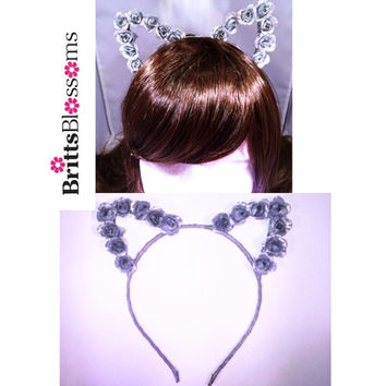 Silver Cat Ears, Cat Ears, Flower Cat Eats, Flower headband, Flower halo, Flower crown